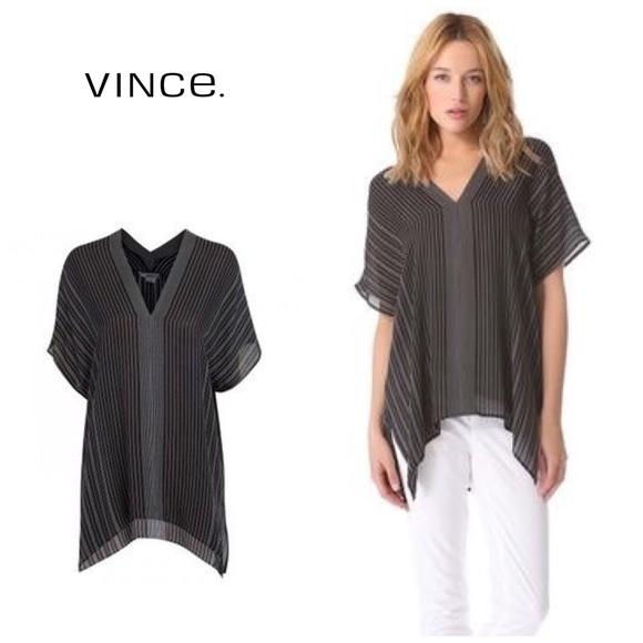 """6ad21be4047151 Vince """"Double V """" stripe silk tunic. M_5b7586fec2e88e431e8f677b"""